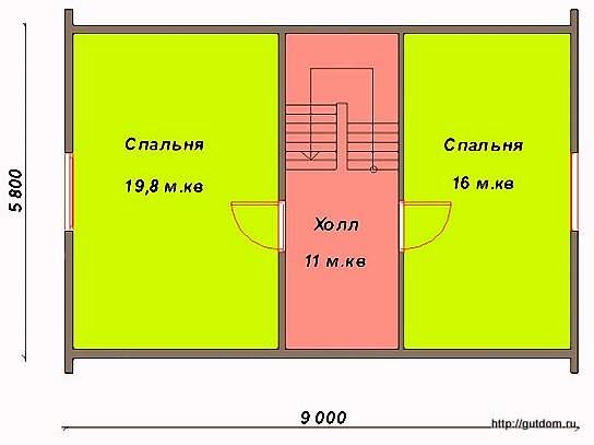 План второго этажа дома, Проект СИП 45