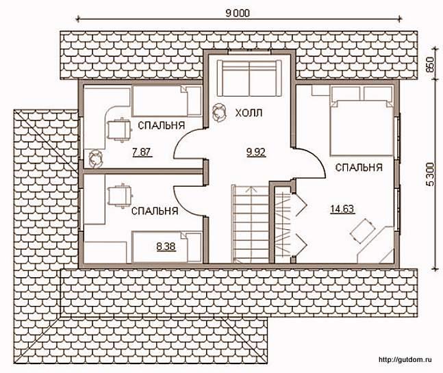План мансарды дома к Проекту СИП 53