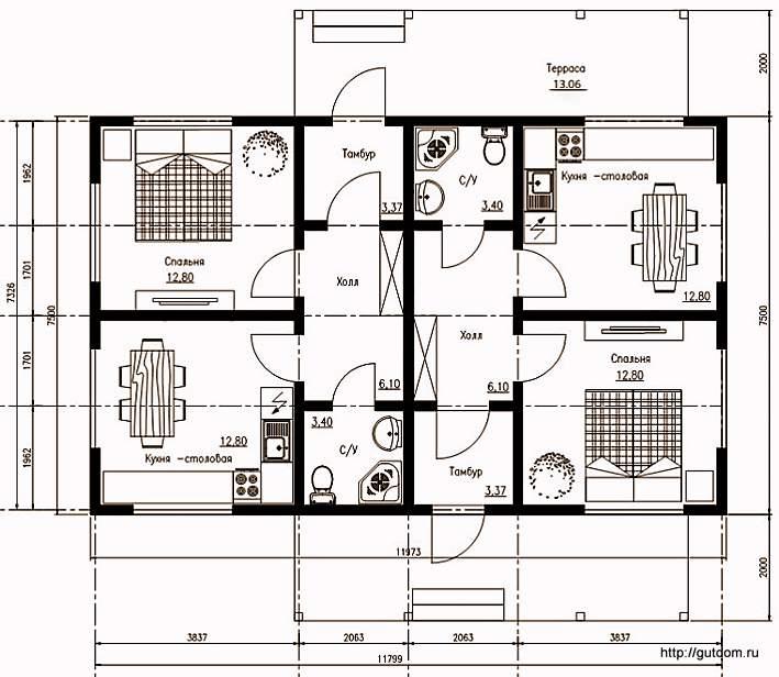 План одноэтажного дома на две семьи, Проект СИП 102