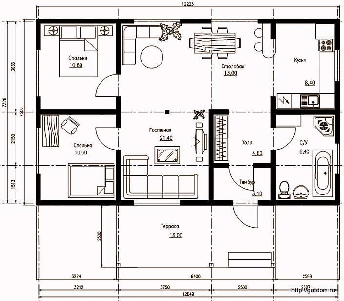 План одноэтажного дома с планировкой, Проект СИП 104