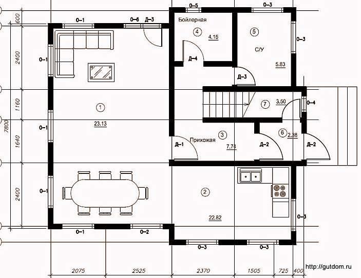 План первого этажа дома, Проект СИП 109