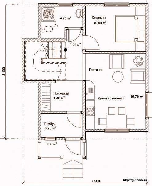 План первого этажа дома, Проект СИП 122