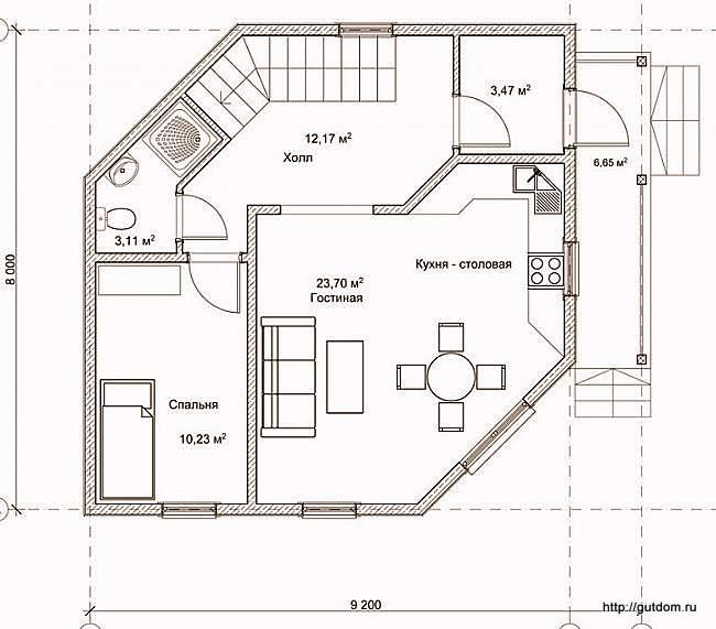 План первого этажа дома, Проект СИП 124