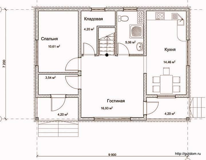 План первого этажа дома, Проект СИП 125
