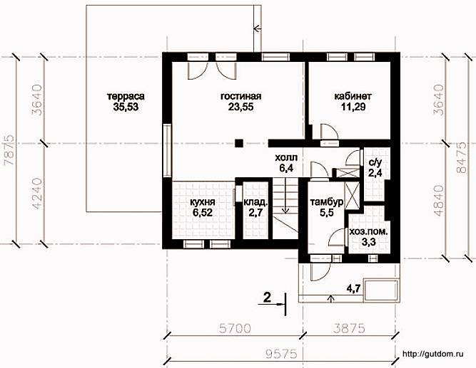План первого этажа дома, Проект СИП 129