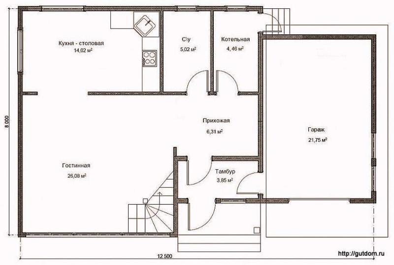 План первого этажа дома, Проект СИП 130