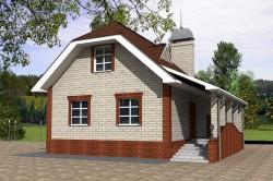 Проект ГБ25 небольшого дома с мансардой, эскиз 1