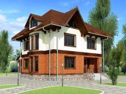 Проект ГБ26 двухэтажного дома с мансардой и подвалом, эскиз 1