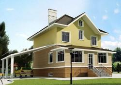 Проект ГБ28, Двухэтажный дом из газобетонных блоков, эскиз 1