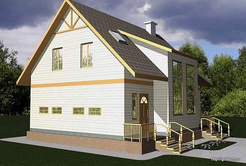 Проект двухэтажного дома СИП 15 общей площадью 187,1 м2, эскиз 1