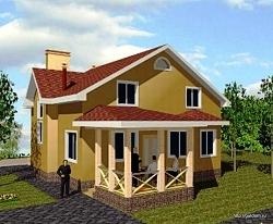 Проект двухэтажного каркасного дома СИП ум