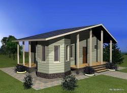 Проект одноэтажного дома СИП 40 площадью 60 м2, эскиз
