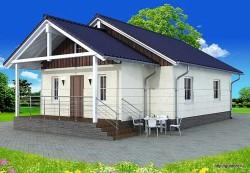 Проект одноэтажного дома СИП 43 площадью 80 м2, эскиз фасада