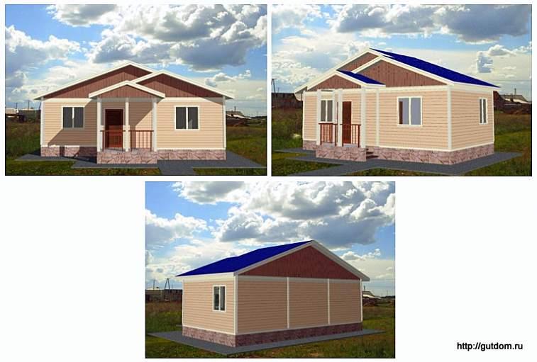 Проект одноэтажного дома дачи СИП 8, эскизы фасадов