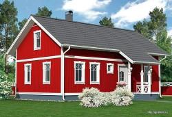 Проект одноэтажного дома с мансардой СИП 52 площадью 118 м2, эскиз