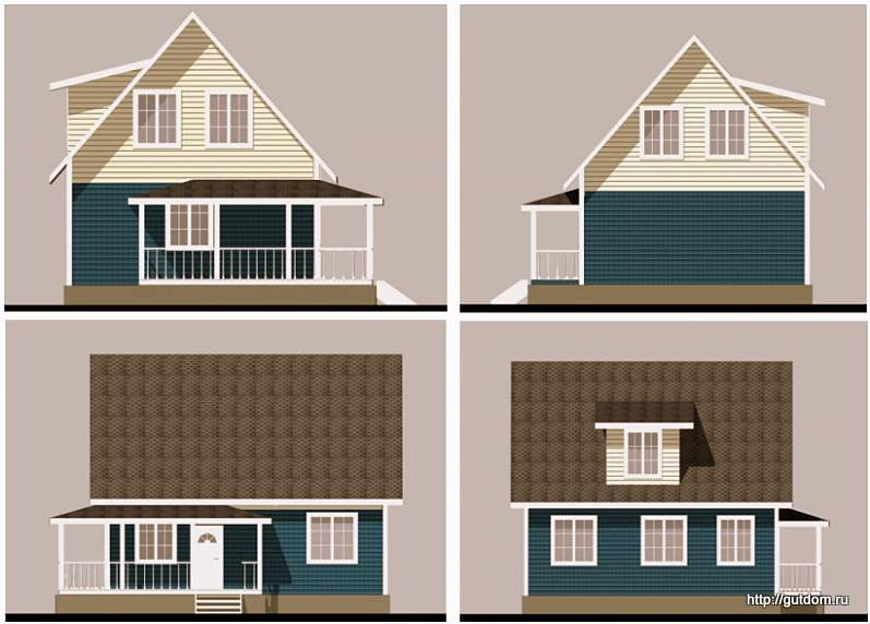 Проект одноэтажного дома с мансардой СИП 53 площадью 113 м2, эскизы фасад