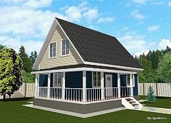 Проект одноэтажного дома с мансардой СИП 53 площадью 113 м2, эскиз ум