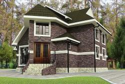 Эскизный Проект ГБ34 двухэтажного дома с цоколем, эскиз 1