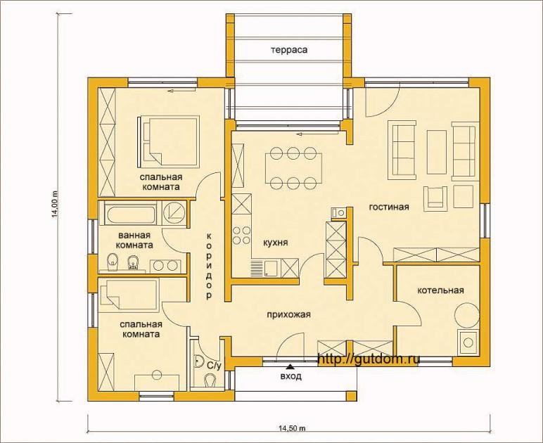 Планировка бунгало с расстановкой мебели Проект ГБ65