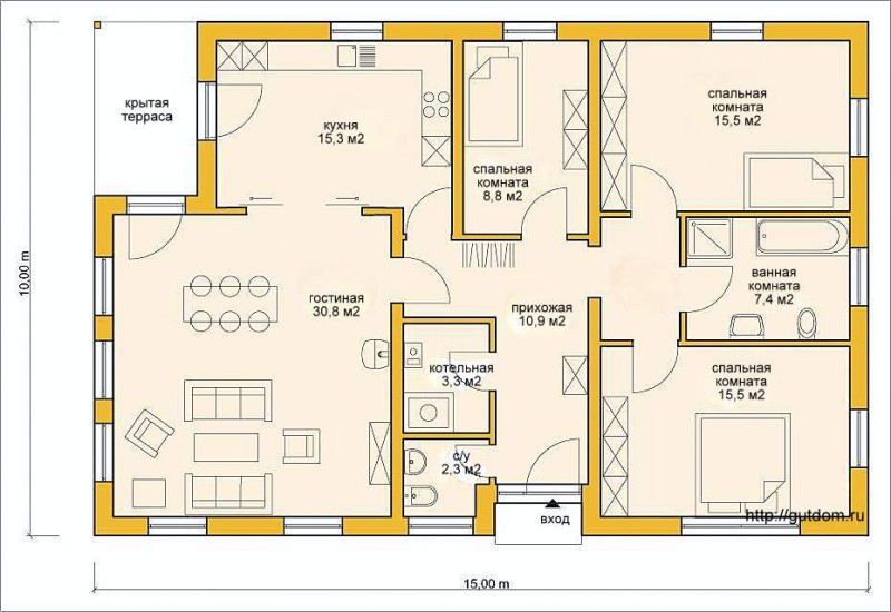 Проект ГБ61 план одноэтажного дома