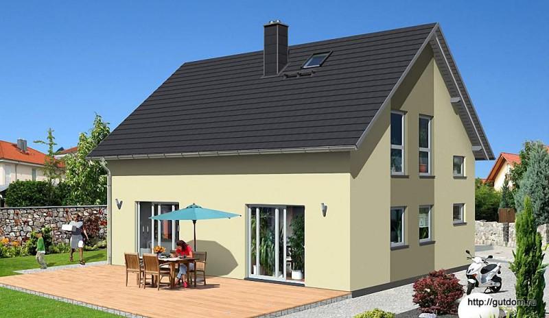 Проект дома из газобетона ГБ49-3 эскиз 2
