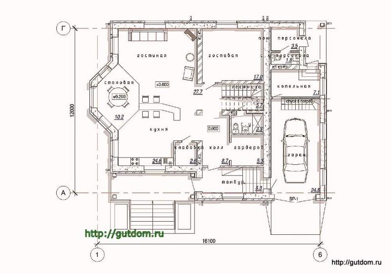 План первого этажа коттеджа