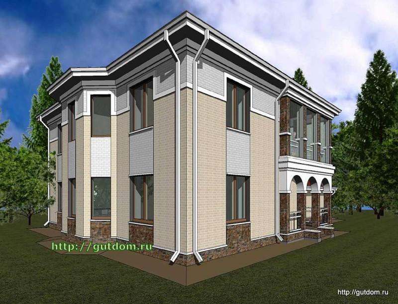 Проект двухэтажного дома Панц12 площадью 256 м2 эскиз 2