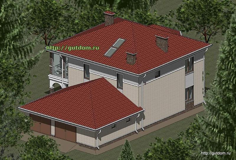 Проект двухэтажного дома Панц12 площадью 256 м2 эскиз 3