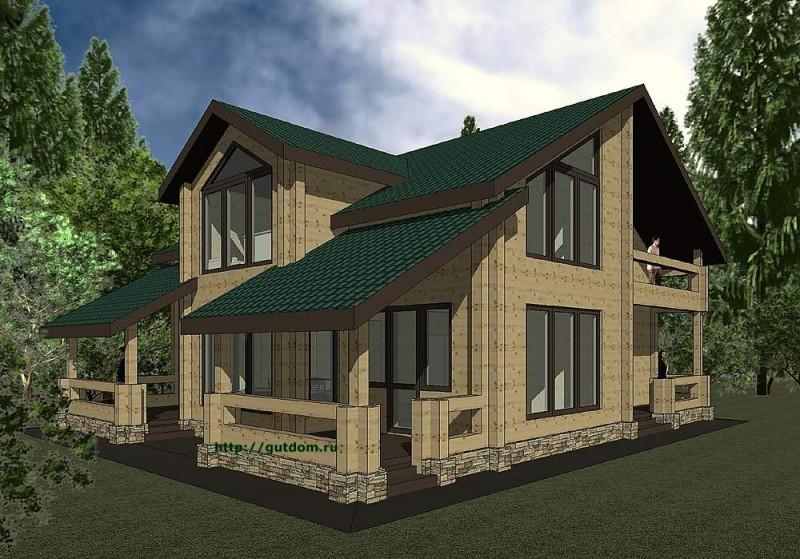 Проект двухэтажного дома из бруса площадью 212 м2 эскиз 1