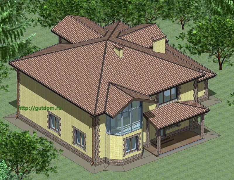 Проект двухэтажного дома из газоблоков Панц10 площадью 308 м2 эскиз 3