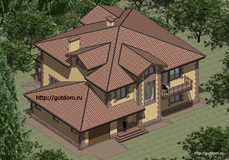 Проект двухэтажного дома из газоблоков Панц10 площадью 308 м2