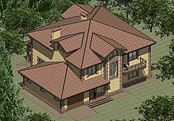 Проект двухэтажного дома из газоблоков Панц10 ум