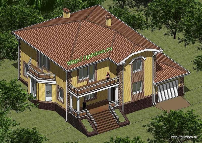 Проект двухэтажного дома из газоблоков Панц11 площадью 270 м2