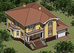 Проект двухэтажного дома из газоблоков Панц11 ум