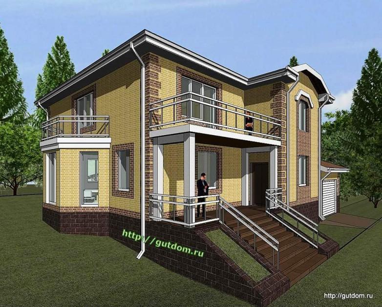 Проект двухэтажного дома из газоблоков Панц11 эскиз 2