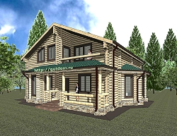 Проект двухэтажного дома из оцилиндрованного бревна ум