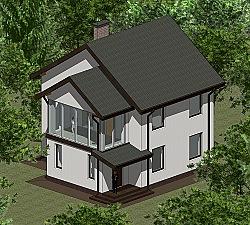 Проект двухэтажного дома площадью 107 м2 Панц37 ум