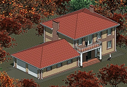 Проект двухэтажного дома с гаражом Панц15 ум