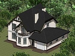 Проект двухэтажного дома с гаражом Панц17 ум