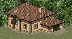 Проект двухэтажного дома с гаражом Панц19 ум