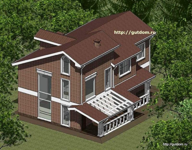 Проект двухэтажного дома с мансардой из газоблоков Панц16 площадью 230 м2