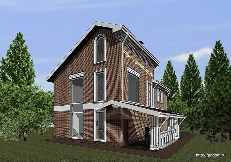 Проект двухэтажного дома с мансардой из газоблоков Панц16 эскиз 2