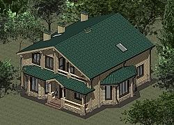 Проект дома из оцилиндроанного бревна площадью 234 м2 ум