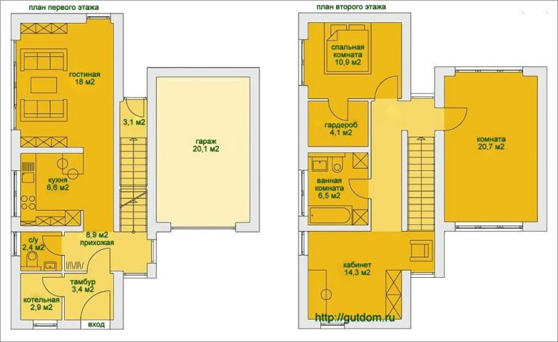 Поэтажные планы дома площадью 130 м2