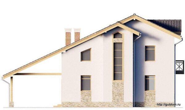 Проект дома с навесом (гаражом) ГБ84 площадью 131 м2