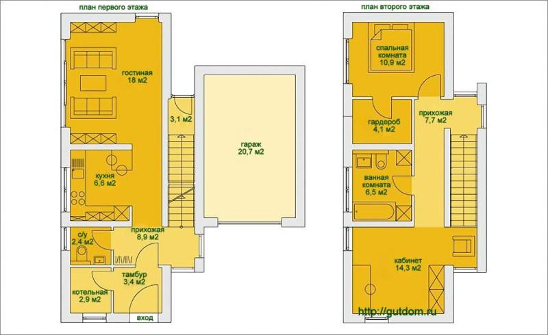 Поэтажные планы дома площадью 110 м2