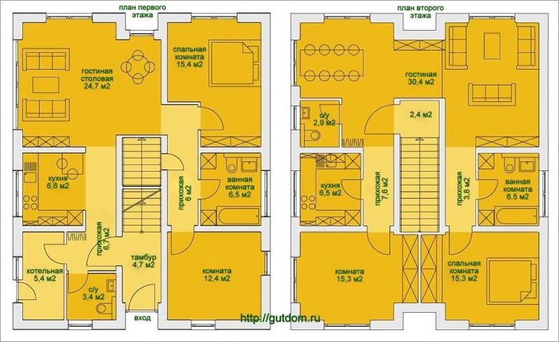 Поэтажные планы дома площадью 185 м2