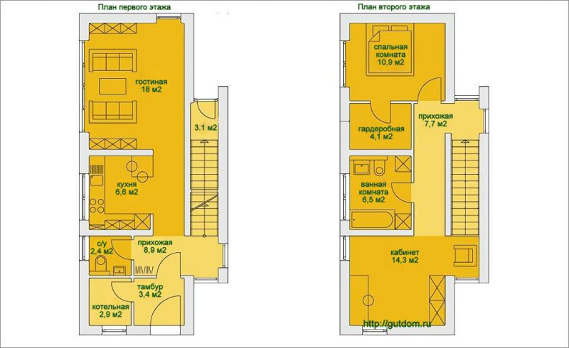 Поэтажные планы дома площадью 90 м2