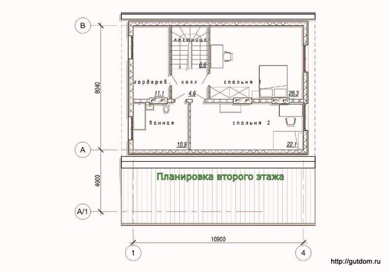 Планировка второго этажа каркасного дома