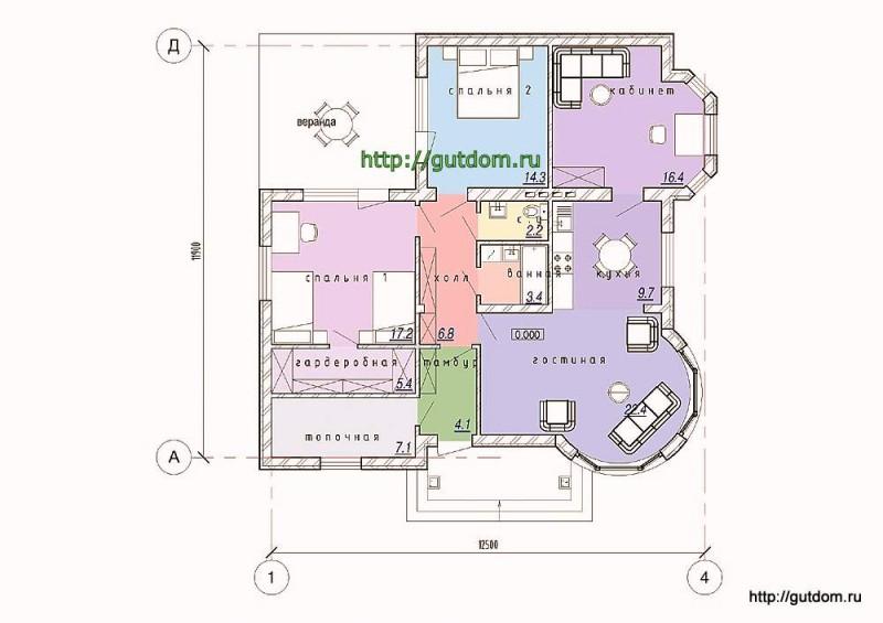 Планировка одноэтажного дома площадью 109 м2